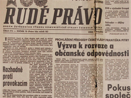 Takhle reagovalo Rudé právo na 17. listopad v pondělí poté (20. listopadu). Archiv dostupný on-line na mfdnes.cz