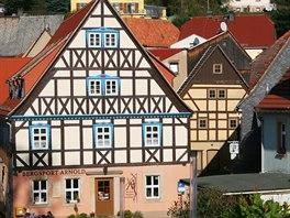 Hrázděné domy na náměstí v Hohnštejnu
