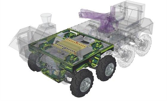Průřez možnou konfigurací vojenského robotického vozidla TAROS V2 ve verzi 8x8 ve verzi. Barevně je vyznačen základní modul 4*4, okolo kterého se celé vozidlo staví.