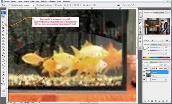 Nepovedená amatérská montáž: lasem vybraná a přesunutá oblast má zřetelné obrysy, které jsou na úrovni pixelů jasně vidět.