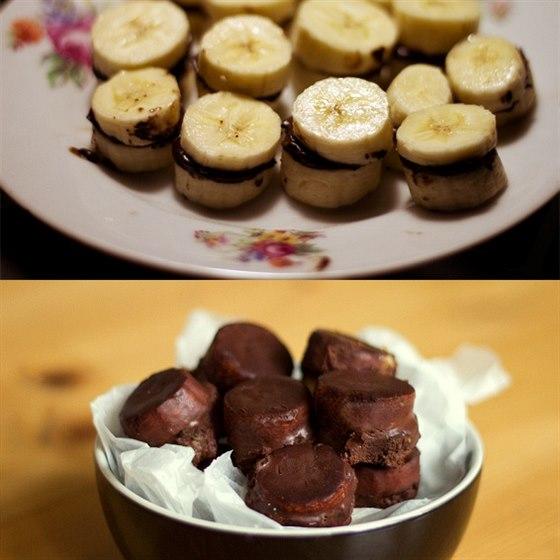 Banánovo-čokoládové jednohubky