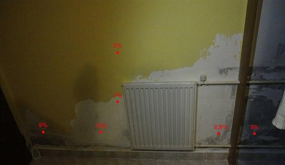 Naměřená procenta vlhkosti povrchu stěny.