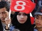 P��znivici kandid�ta na tunisk�ho prezidenta Slima Riahi (21. listopadu 2014).