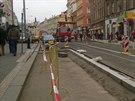 Práce na rekonstrukci trati ve Štefánikově ulici finišují. Na Arbesově náměstí vznikají nové bezbariérové zastávky (27.11.2014)