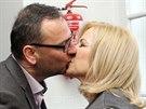 Manželé Jana a Petr Nečasovi před začátkem jednání Obvodního soudu pro Prahu 1. (20. listopadu 2014)