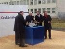 Slavnostního poklepání základního kamene nového brněnského studia ČT se zúčastnil ředitel ČT Petr Dvořák i ředitel brněnského studia Jan Souček.