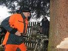 V Nespekách na Benešovsku dřevorubci pokáceli vánoční strom, který zamíří na pražské Staroměstské náměstí (23. listopadu 2014)