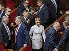 Na prvn� sch�zi ukrajinsk�ho parlamentu dorazila i expremi�rka Julija Tymo�enkov� (27. listopadu 2014)