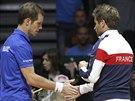 Richard Gasquet (vlevo) a nehrající kapitán francouzských tenistů Arnaud Clement.