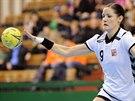 Česká házenkářka Kristýna Salčáková během utkání s Ázerbájdžánem.