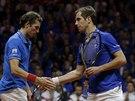 Julien Benneteau (vlevo) a Richard Gasquet čtyřhru ve finále Davis Cupu proti Švýcarsku nezvládli.