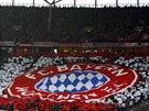 Choreo fanoušků Bayernu Mnichov v zápase proti Hertě Berlín