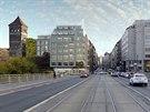 N�vrh novostavby (vizualizace vlevo) v Revolu�n� ulici v Praze od architektky Evy Ji�i�n�.