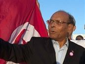 Tunisk� prezident Munsif Marz�k� b�hem p�edvolebn� kampan� (19. listopadu 2014).