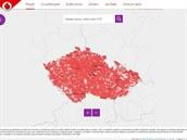 Mapa pokrytí Turbo Internetem z vánoční kampaně