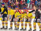 Hokejisté �eských bud�jovic se radují z vít�zství nad Jihlavou.
