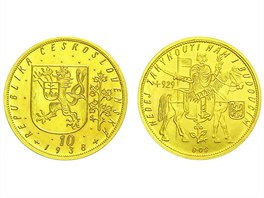 Medaile 1929 (J. �ejnost)-K dokon�en� velechr�mu sv. V�ta a k mil�niu. Sv. V�clav sed�c��eln� s praporcem a �t�tem, n�pisy/Chr�m sv. V�ta, zemsk� znaky, Au,70 mm(168,93g) - vyvol�vac� cena 340.000