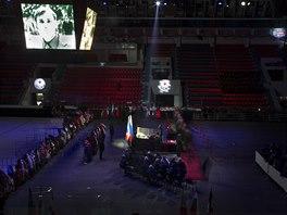 TRYZNA. S legendárním hokejovým trenérem Viktorem Tichonovem se ve čtvrtek v Moskvě loučily tisíce lidí.