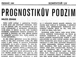 Článek Prognostikův podzim v Lidových novinách z prosince 1989