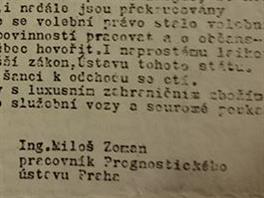 Nedatované prohlášení podepsané Milošem Zemanem (zveřejněné Jakubem Patočkou)