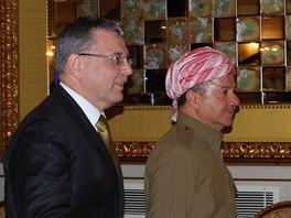 Šéf české diplomacie Lubomír Zaorálek navštívil v Irbílu kurdského prezidenta Masúda Barzáního (27. listopadu 2014)
