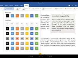 Aplikace Microsoft Office pro tablety s Androidem mají uživatelské rozhraní přizpůsobené pro dotykové ovládání a bohatou nabídku funkcí