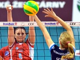 V AKCI. Prostějovská volejbalistka Stefanie Kargová v zápase Ligy mistryň proti polskému soupeři z Police.