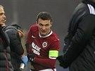 Pro kapitána Sparty Davida Lafatu skončil zápas v Jihlavě už v 17. minutě...