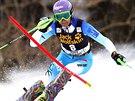 Šárka Strachová na trati slalomu v Aspenu.