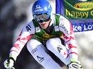 Rakouský lyžař Matthias Mayer na trati superobřího slalomu v Lake Louise.