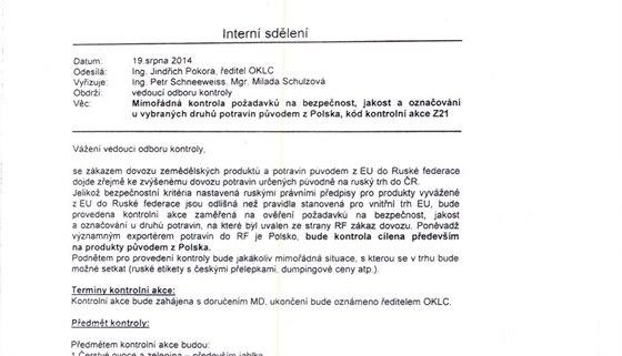 Kontroverzn� dokument SZPI, kter� zve�ejnila polsk� m�dia.