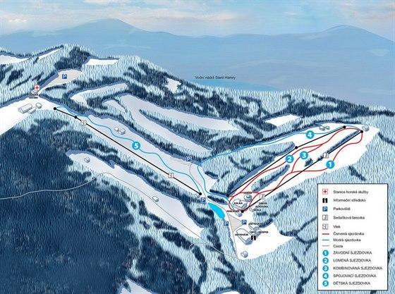Mapa Ski Park Gruň