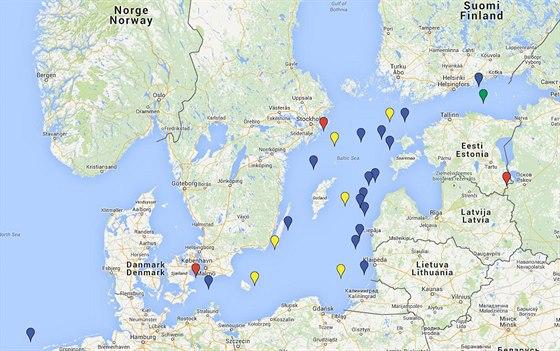 Mapa incidentů s ruskými vojenskými letouny a plavidly v okolí severských států