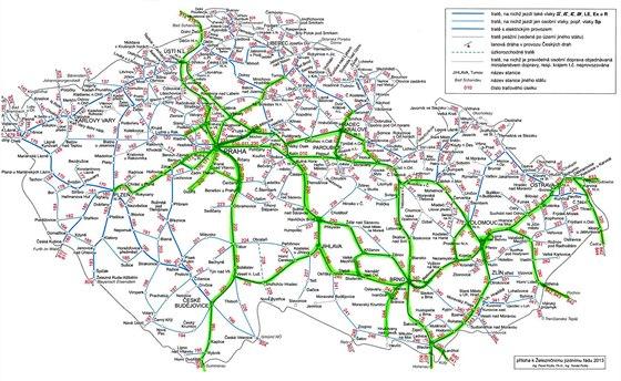 Mapa postižených tratí pro odškodnění cestujících Českých drah