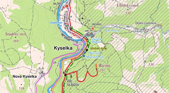 MAPA: Lázně Kyselka. Zdroj: cykloserver.cz