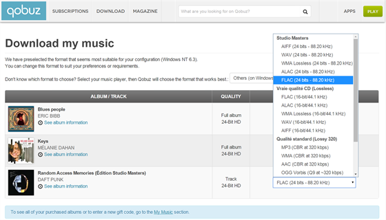 On-line hudební obchod Qobuz nabízí řadu formátů, ve kterých si zakoupenou hudbu můžete stáhnout.