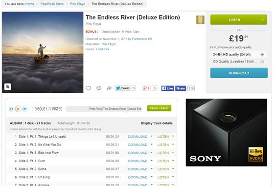 """Nákup hudby ve vysokém rozlišení je jednoduchý. Na screenshotu je detail alba vybraného k nákupu. """"CD kvalita"""" je zpravidla nižší než u """"hi-res"""". Poslední album Pink Floyd stojí ve 192 kHz / 24bit v přepočtu 670 Kč (Qobuz zatím není v ČR dostupný)."""
