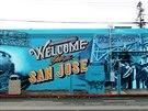 Joe Thornton na obrázku pouličního umělce.