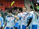 Čeští florbalisté oslavují gól proti Estonsku.