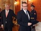 Jmenování bývalého šéfa Skansky Dana Ťoka ministrem dopravy (Pražský hrad, 4. prosince 2014)