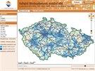 Mapa celkov�ho pokryt� s�t�mi vysokorychlostn�ho p��stupu k internetu u T-Mobilu
