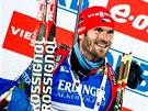 Michal Šlesingr na stupních vítězů vytrvalostního závodu v Östersundu.