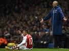ALE TO SNAD NE!?! Kouč Arsenalu Arsene Wenger i jeho faulovaný svěřenec Alexis Sanchez mají na věc stejný názor.