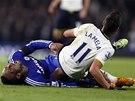 TO BOLELO. Didier Drogba z Chelsea křičí bolestí po zákroku Erika Lamely z Tottenhamu.