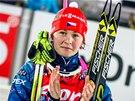 Veronika V�tkov� p�i vyhl�en� nejlep��ch biatlonistek vytrvalostn�ho z�vodu v �stersundu.