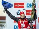 Ondřej Moravec se stříbrnou medailí ze sprintu Světového poháru v Östersundu.