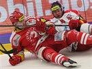 Třinecký hokejista Milan Doudera (vlevo) v souboji s olomouckým Matějem Pekrem.