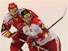 Třinecký hokejista Lukáš Gavlas (vlevo) v souboji s olomouckým Petrem Zuzinem.