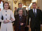 Bývalá belgická královna Fabiola (uprostřed) s nynějším panovníkem Philippem a jeho manželkou Mathilde ((Brusel, 24. ledna 2007)
