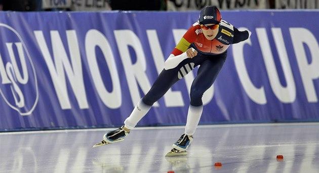 Martina Sáblíková v závod� na 3 000 metr� p�i Sv�tovém poháru v Berlín�.